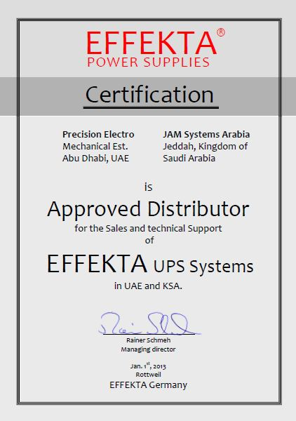 EFFEKTA Distribution Certification for JAM Systems Arabia - Jeddah